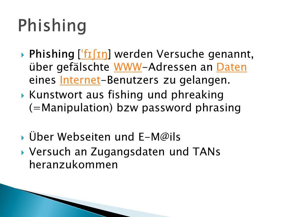 Phishing Phishing [ˈfɪʃɪŋ] werden Versuche genannt, über gefälschte WWW-Adressen an Daten eines Internet-Benutzers zu gelangen.